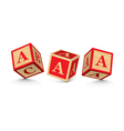 letter A wooden alphabet blocks vector image vector image