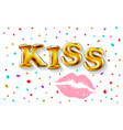 lettering kiss love romance golden balloon text vector image vector image