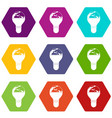 light bulb and planet earth icon set color vector image vector image