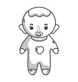 line baby boy with pacifier and hairstyle vector image vector image
