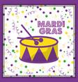 mardi gras drum and sticks confetti decoration vector image