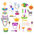 mardi gras festival collection on white vector image vector image