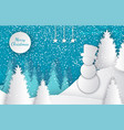 merry christmas cut out greeting card with winter vector image