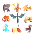 mythical and fantastic creatures set for label vector image vector image
