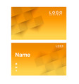 name card abstract square orange background vector image vector image