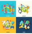 Navigation And Location Flat Icon Set vector image vector image
