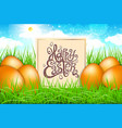 orange eggs in a field of grass with blue sky vector image