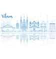 Outline Vilnius Skyline with Blue Landmarks vector image vector image