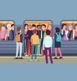 people go into subway train public urban vector image
