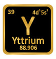 periodic table element yttrium icon vector image vector image