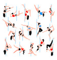 pole dance isometric icons set vector image