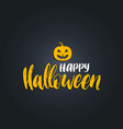pumpkin with happy halloween vector image vector image
