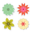 retro flower stickers with shadows vector image vector image