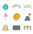 road worker icons set cartoon style vector image vector image