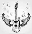 rock guitar and wings vector image vector image