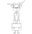 Schoolgirl with briefcase vector image vector image