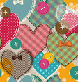Seamless pattern of heart patchworks and buttons vector image vector image
