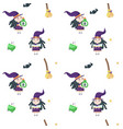 seamless pattern with cute little halloween vector image vector image