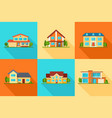 set modern city cottage houses buildings icons vector image vector image