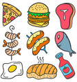 set of various food doodles