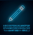 sharp pencil with eraser neon light icon glowing vector image