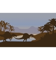 Silhouette of dinosaur in lake vector image vector image