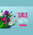 spring sale banner with paper cut flowers vector image
