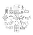 street cafe icons set outline style vector image