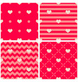 tile pattern with hearts on pink and red vector image vector image