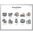 travel icons linecolor pack vector image