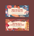 twitter template with autumn daily concept design vector image vector image