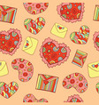 valentine s day seamless pattern with hearts and vector image vector image