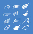wings icon set bird or angel wing vector image vector image