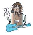 with guitar milkshake mascot cartoon style vector image