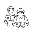 woman and man reading design vector image