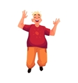 Young happy fat man in casual clothing jumping vector image vector image