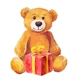 teddy bear sits with a red gift Watercolor vector image