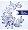 Blue watercolor flowers edging vector image