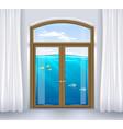 window of underwater landscape vector image