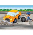 A boy repairing a car at the pedestrian lane vector image