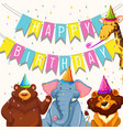 animal on birthday party template vector image