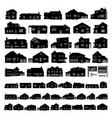 black residential house silhouette isolated on vector image