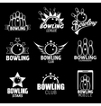 Bowling Labels Logos Design Elements and Icons vector image vector image