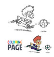 boy playing football cartoon coloring page vector image vector image