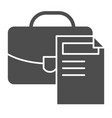 briefcase solid icon portfolio and document vector image vector image
