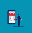 businessman notes data in calendar concept vector image vector image