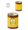 Cartoon can of tinned food with a happy smiling vector image vector image