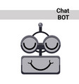 cartoon robot face smiling cute emotion closed vector image vector image