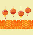 chinese new year lanterns with traditional wave vector image vector image