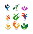 collection of wellness people logo design template vector image vector image